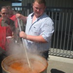 Stirring the beans...