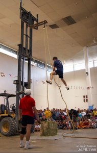 Competitions at Jaialdi 2005 tested feats of strength. Photo: Jon C. Hodgson.