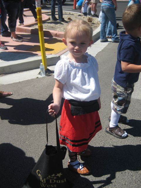 This young spectator dresses for the Elko Basque parade.