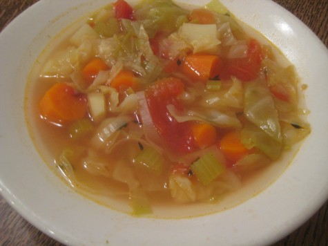 Vegetable soup is the first course at Basque family style restaurants.