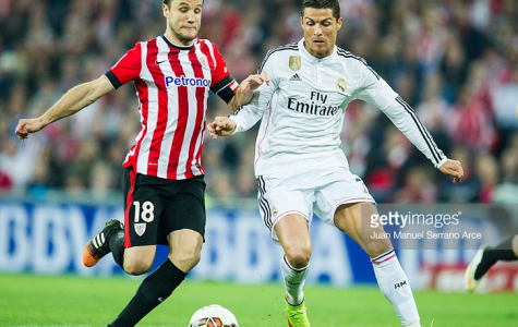Cristian Ronaldo goes up against Carlos Gurpegi in the match between Athletic Bilbao and Real Madrid. Getty Images