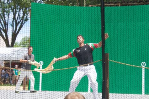 New England players demonstrate jai alai. Riki Lasa (front) was a professional jai alai player.
