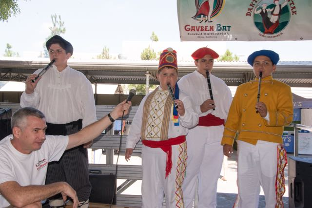 Young musicians play the txistu at Chino Basque Festival 2016.