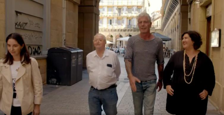 Anthony Bourdain in San Sebastian, with Elena and Juan Mari Arzak and Gabriella Rinelli