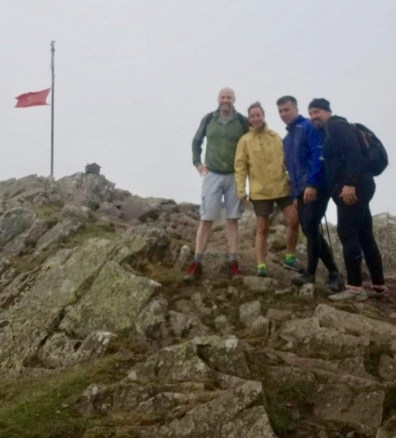 Xabier Berrueta, on right, hikes Mendaur with friends