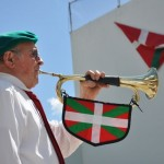 Georges Petrissans plays the bugle for the club klika. Photo by Linda Iriart