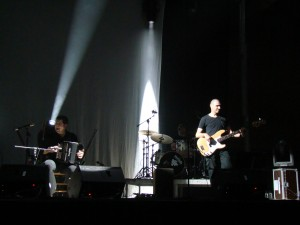 Junkera on stage with his band.