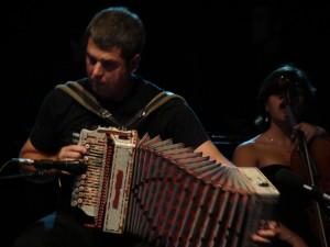 Junkera plays his trikitixa (diatonic accordion).