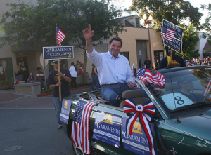 John Garamendi, grandson of Basque immigrants, waves to well wishers in Antioch, Calif. Photo from his campaign website.