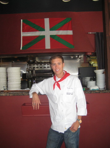 Noblia hung the ikurriña over the kitchen in his restaurant.