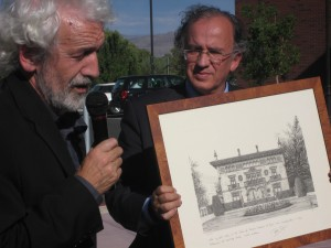Co-director Joseba Zulaika receives artwork donated by the Basque government in Spain.