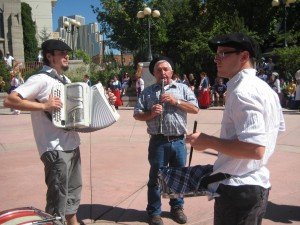Musicians lead the kabalkada of Basque dancers in West Street Plaza in Reno
