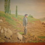 The mural of a sheepherder tending his flock recalls the Basque traditions