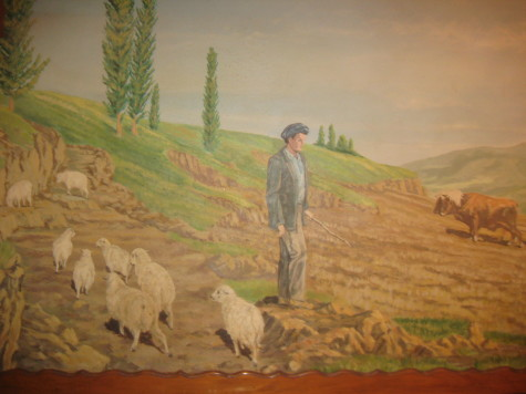 The mural of a sheepherder tending his flock recall the Basque traditions
