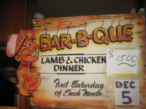 Sign for the monthly barbecue