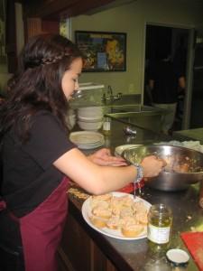 Mia Lopez-Zubiri helps prepare pintxos