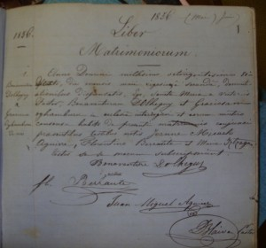 A photo of the marriage certificate for the first recorded marriage at Notre Dame des Victoires Church in San Francisco in 1856, uniting Bonaventure Dolheguy and Gracieuse Oyhamburu.