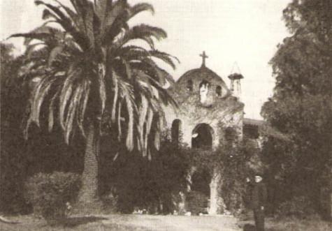 Father Espelette in front of Montebello Monastery
