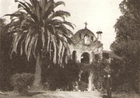 Father Espelette in front of Montebello Monastery