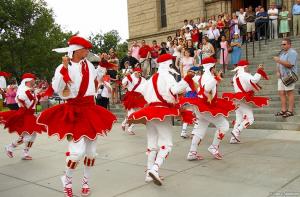 Oinkari dancers perform at St. John's Cathedral. Photo: Jon C. Hodgson.
