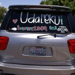 One mom's car is decked out for camp - Udaleku or Bust! Photo by Linda Iriart