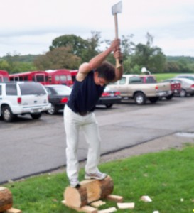 Wood chopping was featured at the Rhode Island Basque Club Picnic. Photo: courtesy of the club.