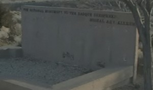 Plaques with herders' names were stolen from this wall at the National Sheepherder Monument. Photo: My 4 News.